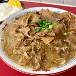 楽亭 - 料理写真:中華そば肉入り(大)&めし(大)