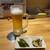 蔵元居酒屋 谷桜 - ドリンク写真:生ビールとお通し