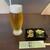 榑木野 - ドリンク写真:生ビールとお通し
