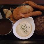 洋食のまなべ - 料理写真:ハンバーグとミックスフライ