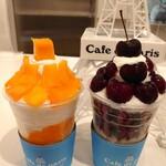 カフェ ド パリ - ボンボンピンスのマンゴーとチェリー各1,300円✨食べ進めるとフルーツ、生クリーム、ふわふわミルク氷にフルーツピューレとフローズンクリームの層がわかります!