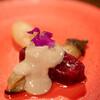 カナイユ - 料理写真:2021.7 ニタリクジラのマリネ 焼き茄子のマリネ 蟹味噌とマスカルポーネのソース 納豆とカカオのムース