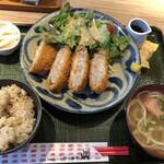 沖縄クラフトビール&琉球バル ガチマヤ - アグー豚メンチカツ定食@950円