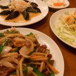 miyamahanten - ピータン、牛肉とピーマンの細切炒め、エビマヨ