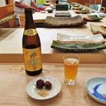 治鮨 - ビールと絹かつぎ