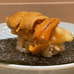 Sushimatsumoto - 牡丹海老のフリッター、馬糞雲丹 海苔巻き