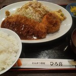 串かつ 母屋 - 料理写真:とんかつ&海老クリームコロッケ ライス大