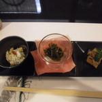 和匠よし乃 - 2012.10.25 前菜 子持ち太刀魚和え、あわびワタ、シオの煮凝り