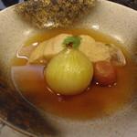 和匠よし乃 - 2012.10.25 シオ(カンパチ若魚)玉葱。梅