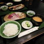 宮本 - ブリとスズキの刺身定食