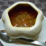 南インドの味 カレーリーフ - セットのスープ ペンタゴン容器