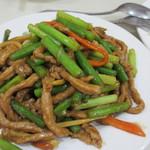 普天河 - 豚肉とニンニクの芽の炒め物、旨い!