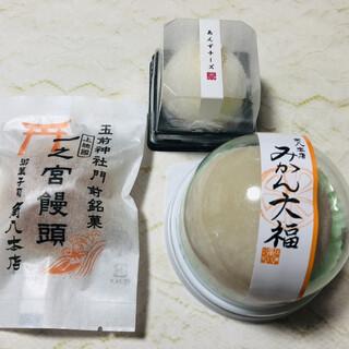 御菓子司 角八本店 - 料理写真:みかん大福、あんずチーズ、一之宮饅頭