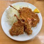 155211397 - ミックス定食 ¥870 の串カツ、海老フライ、アジフライ