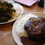 欧風カリー ドモン - 料理写真:ブロッコリートッピングと白老ハンバーグトッピング