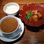 來杏 Chinese Restaurant - ミニフカヒレラーメン、豚角煮、ご飯