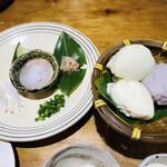 155268570 - 3種のざる豆腐と薬味