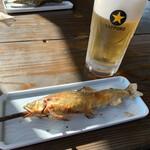 155282615 - 鮎の塩焼きと生ビール