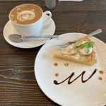 カフェ マンナ - ケーキセット! カプチーノと洋梨のタルト
