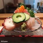 和海味処 いっぷく - 蛸、鮃、メジ鮪 中トロの三点盛
