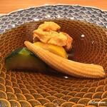 和海味処 いっぷく - 生海胆と鶏団子、夏野菜の素揚げ甘酢餡