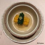 和海味処 いっぷく - 生海胆が射込まれた玉蜀黍饅頭