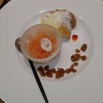 鉄板dining香音 - スイカソルベ、レモンシフォンケーキ