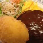 レストランQ - ランチ ハンバーグとクリームコロッケ