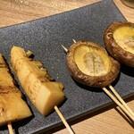 焼き鳥 きんざん - 肉厚しいたけとタケノコ