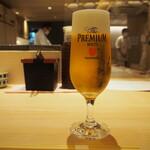 鮨 仙酢 - 生ビール(プレモル)