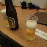 とんかつ武信 - 迎えビール