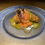 155411762 - 鶏のロースト                       冷たいガスパチョとハーブのソース                       お皿もキンキンに冷やしていますよ!
