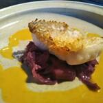 kufuku - 前菜2 甘鯛の鱗焼 貝と柚子と柚子胡椒のソース
