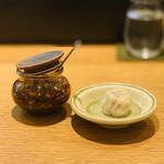 155465070 - 【天心】                         ・黒豚と枝豆の焼売、自家製辣油