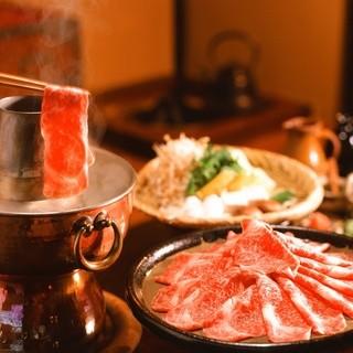 歴史の深いすすぎ鍋のほか、すき焼、あみ焼きの逸品もご用意