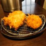 酒肴 新屋敷 - 太刀魚フライ 帆立フライ