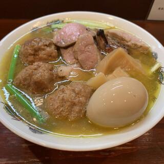らーめん 五ノ神精肉店 - 料理写真:軍鶏濁りそば炙り合鴨のっけ味玉