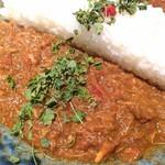 麻布十番 薬膳カレー 新海 - ■2種の合いがけ薬膳カレー   (鶏と生姜の煮込み薬膳カレー)