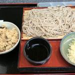 そば処 しんとみの郷 - ざるそば(630円)と、鶏めし(155円)