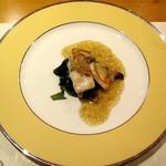 鉄板焼 誉 - 白身魚とホタテのあんかけスープ