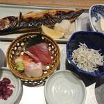 魚金醸造 - 脂の乗った鯖の塩焼き定食。