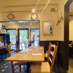 トラットリア モリタ - 店内は優しい雰囲気です。机の木の温もりが気に入りました。