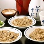 出石 城山ガーデン - おやつそば(500円)「ちょっとだけ食べたい」というお客様向けの3皿だけのそばセット。