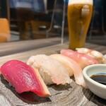 かいえん - おまかせ握り寿司 5貫 860円 生ビール 550円