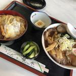 福水 - 料理写真:チャーシュー麺とカツ丼