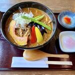 菊すけ - 『季節の野菜カレー(赤)+温玉』様(1738円+110円)※〆チョイ飯&チョイスムージー付。