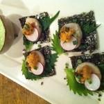 丹華麗 - 帆立のウニの炙り焼き キュウリのソース