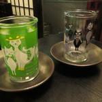 麦酒庵 - チェーサー用のかわいい猫グラス