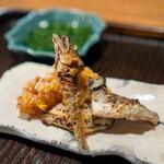 京天神 野口 - 安曇川の鮎の塩焼き とうもろこしのかき揚げ
