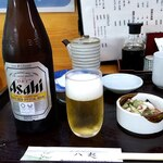 天ぷら八起 - ドリンク写真:アサヒスーパードライ瓶600お通しタコと胡瓜の酢の物100